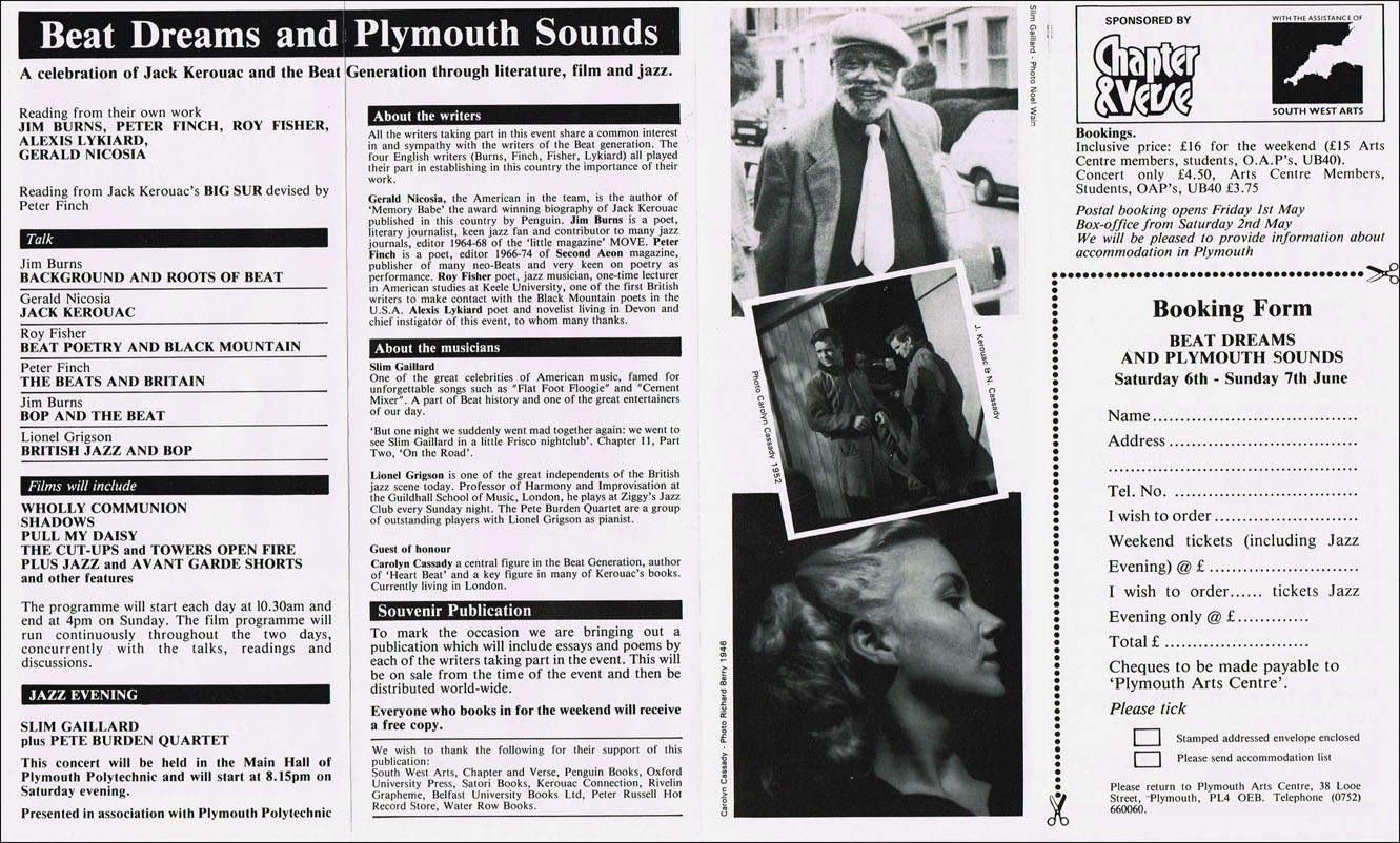 Broadside Flyer for Beat Dreams and Plymouth Sounds Event by Carolyn  Cassady, Jack Kerouac, Slim Gaillard, Gerald Nicosia on Third Mind Books