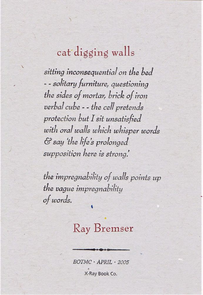 Cat Digging Walls. Ray Bremser