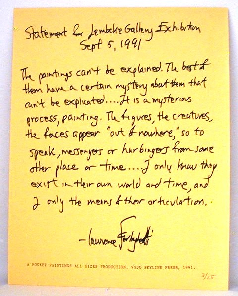 Statement For Lembeke Gallery Exhibition. Lawrence Ferlinghetti