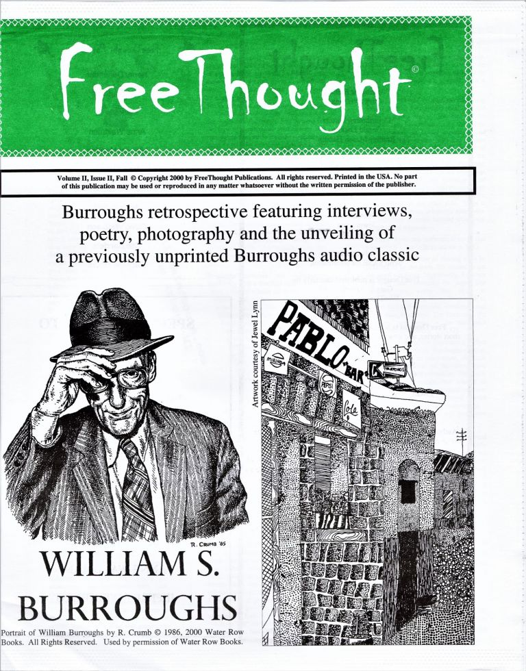 FreeThought, Vol. II, Issue II. William S. Burroughs, Gary Aposhian, managing.