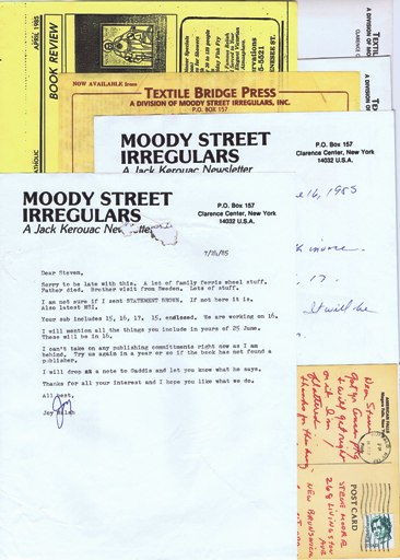 Letter Collection from Joy Walsh to Steven Moore. Joy Walsh, Steven Moore, Jack Kerouac.