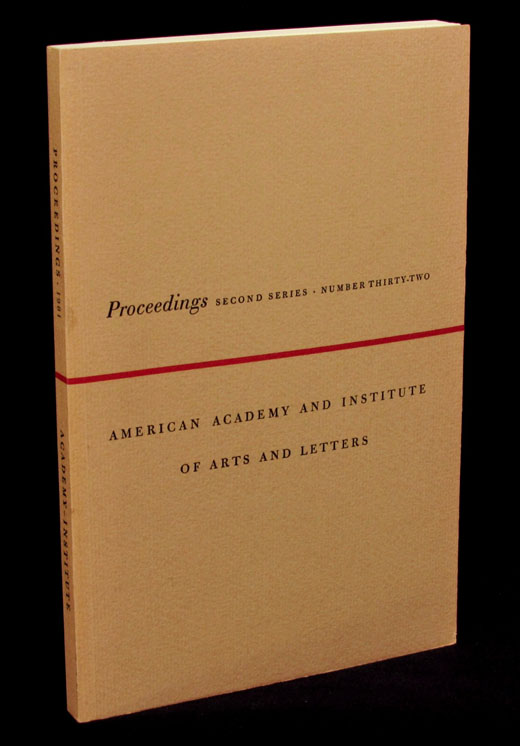 Proceedings: Second Series, Number Thirty-Two. Paul Bowles, Allen Ginsberg, American Academy, Institute of Arts, Letters.