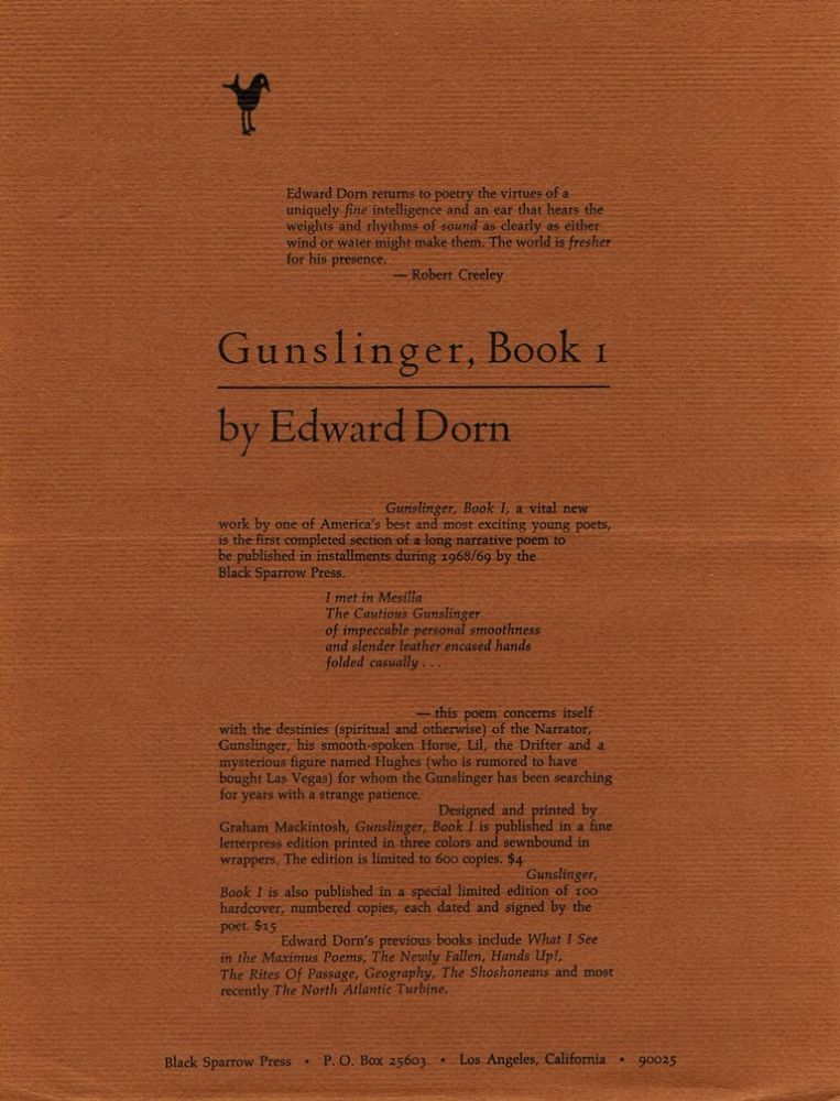 Prospectus for Gunslinger, Book I. Edward Dorn