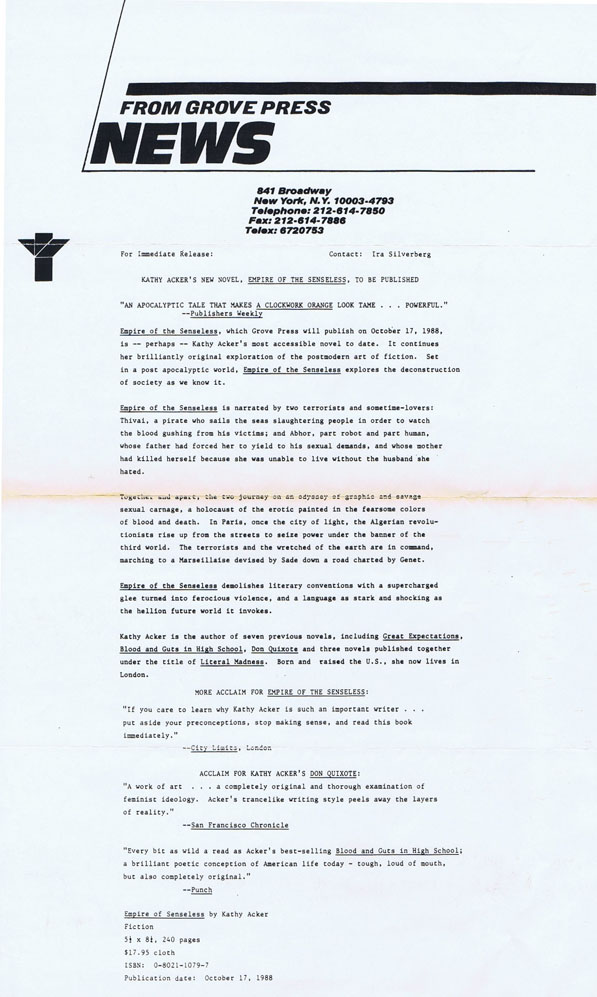 Original Press Release for Empire of the Senseless; with New York Times Book Review Article. Kathy Acker.