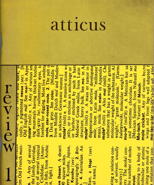 Atticus Review No. 1, Summer 1982. Various, John M. Bennett, Michael Creedon, Ronald Davis, Rod Moore, Harry Polkinhorn, Ezra Pound.