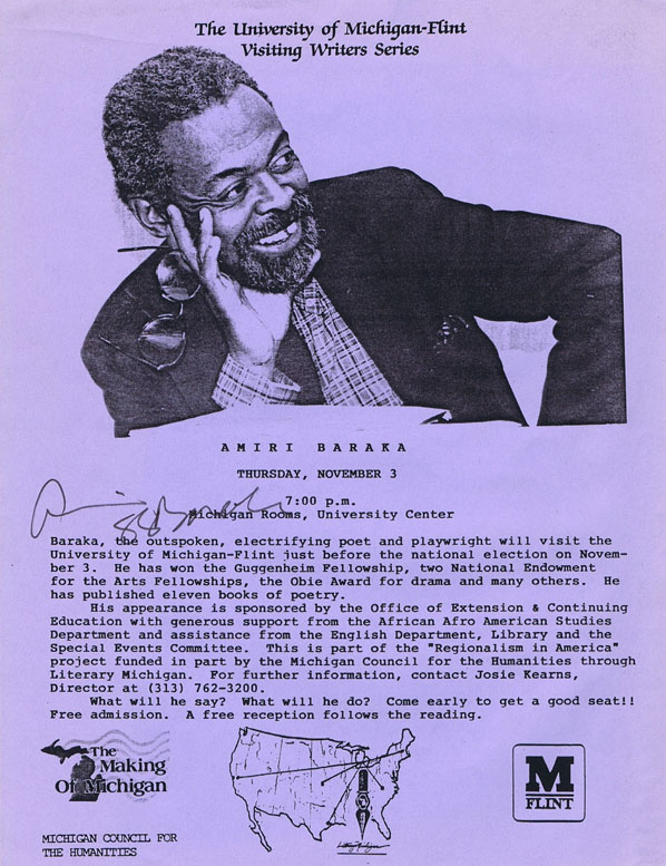 Announcement of an Appearance by Amiri Baraka (two copies). LeRoi Jones, Amiri Baraka