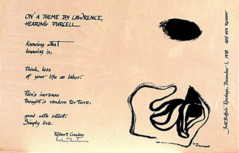 On a Theme by Lawrence, Hearing Purcell. Robert Creeley.