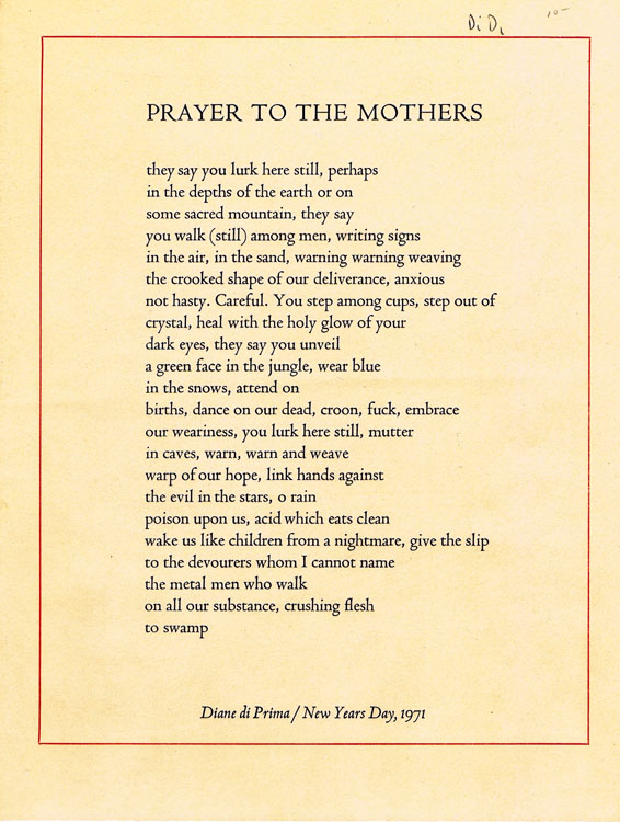 Prayer To The Mothers Diane Di Prima First Printing