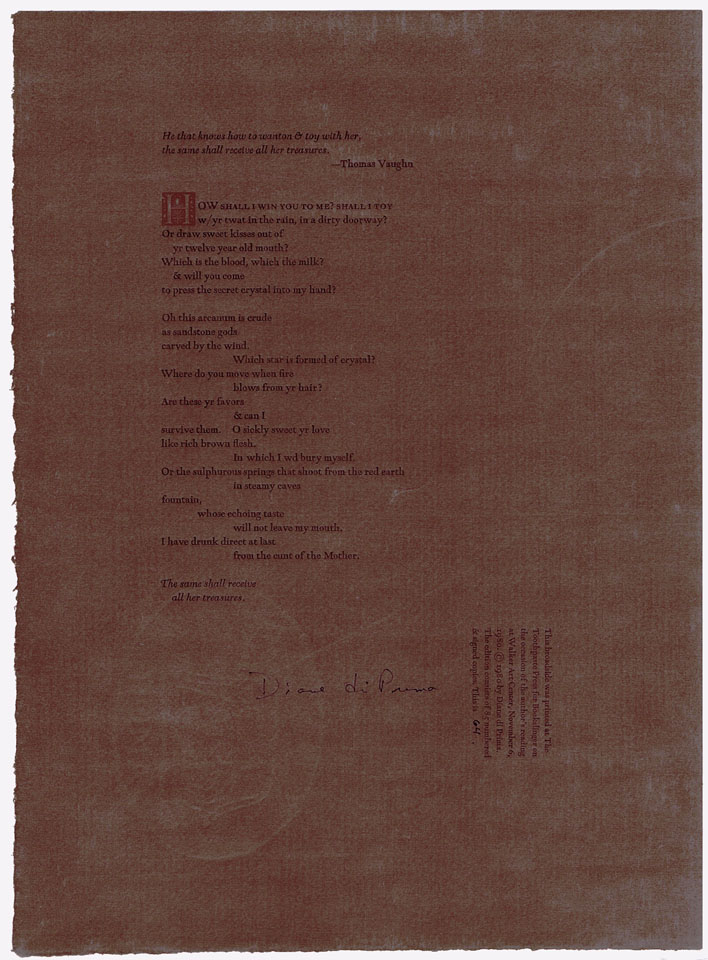 "Untitled Broadside (""How shall I win you to me?...""). Diane di Prima."