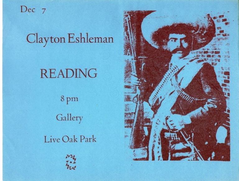 Reading Announcement. Clayton Eshleman