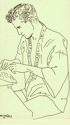Postcard with Drawing of Neal Cassady by Carolyn Cassady. Carolyn Cassady