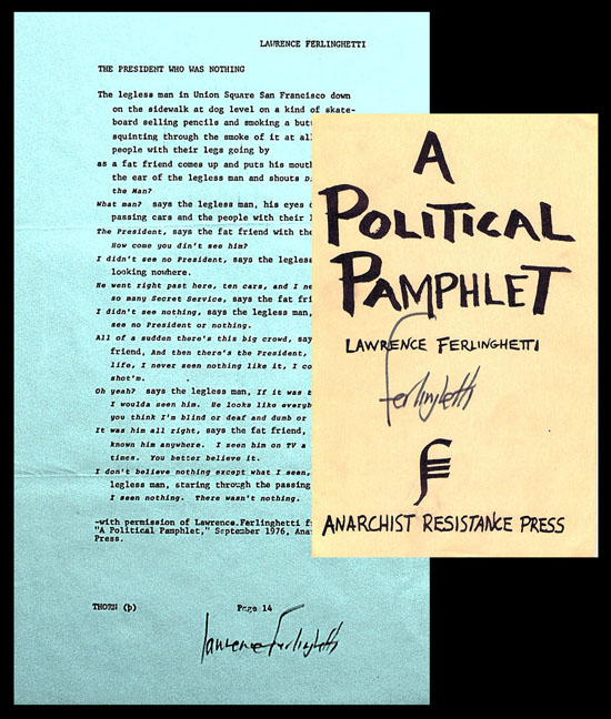 A Political Pamphlet; with Broadside: The President who was Nothing. Lawrence Ferlinghetti.