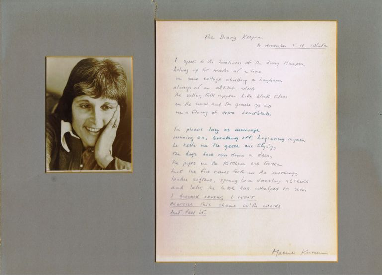 The Diary Keeper, Original Hand-Written Manuscript Poem Signed, with Photograph. Maxine Kumin