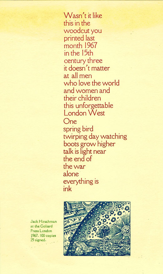 Untitled Broadside - Wasn't it Like. Jack Hirschman