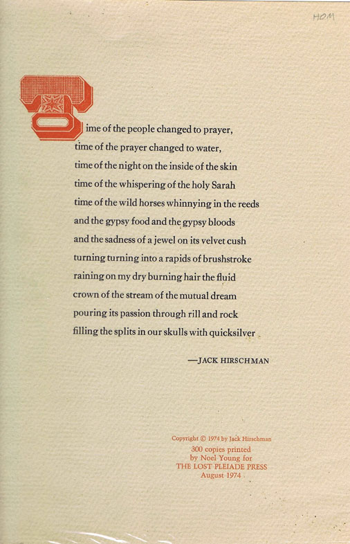 Untitled Broadside - Time of the People. Jack Hirschman