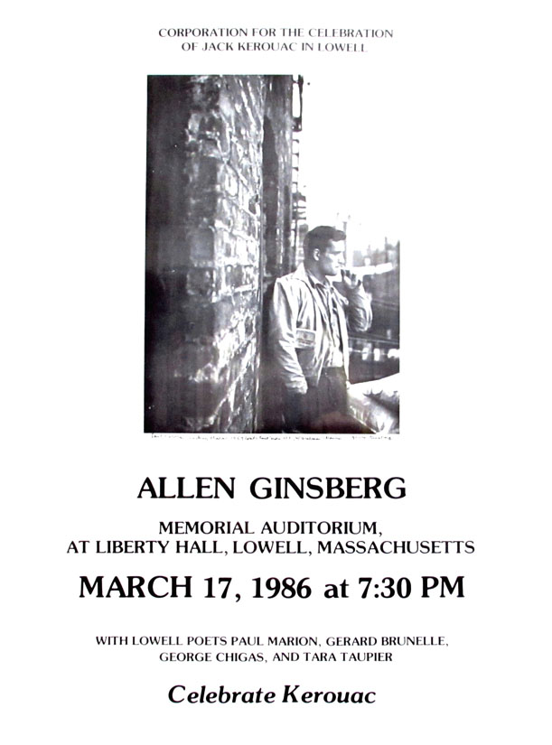 Announcement of Appearance in Lowell, Massachusetts. Allen Ginsberg