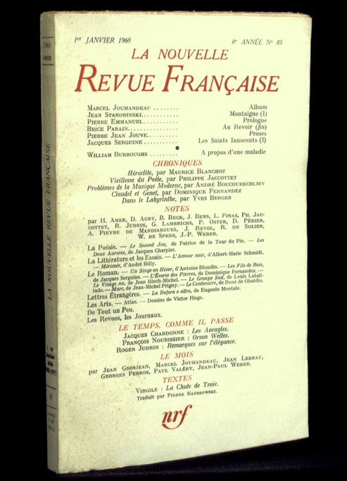 La Nouvelle Revue Francaise, No. 85, January 1960. William S. Burroughs.