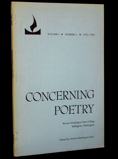 Concerning Poetry, Volume 1, Number 2, Fall 1968. Allen Ginsberg, Louis Ginsberg
