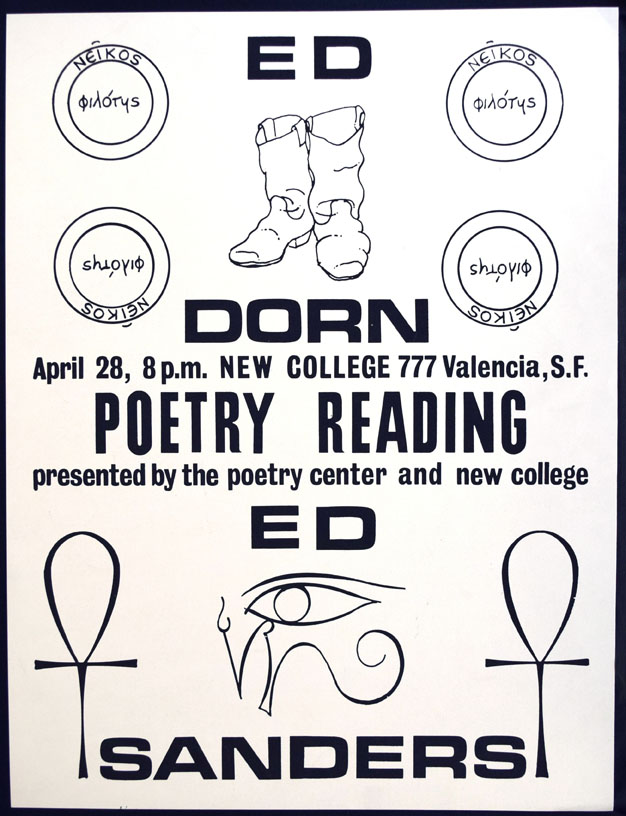Poetry Reading Announcement Broadside-Poster. Edward Dorn, Edward Sanders.