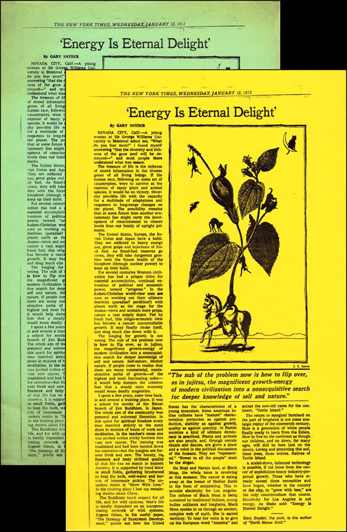 'Energy Is Eternal Delight' (Two Editions). Gary Snyder.