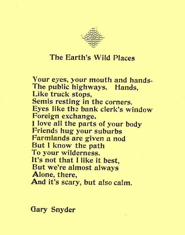 The Earth's Wild Places. Gary Snyder