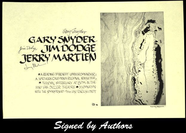 Broadside Announcement of Poetry Reading. Gary Snyder, Jim Dodge, Jerry Martien.