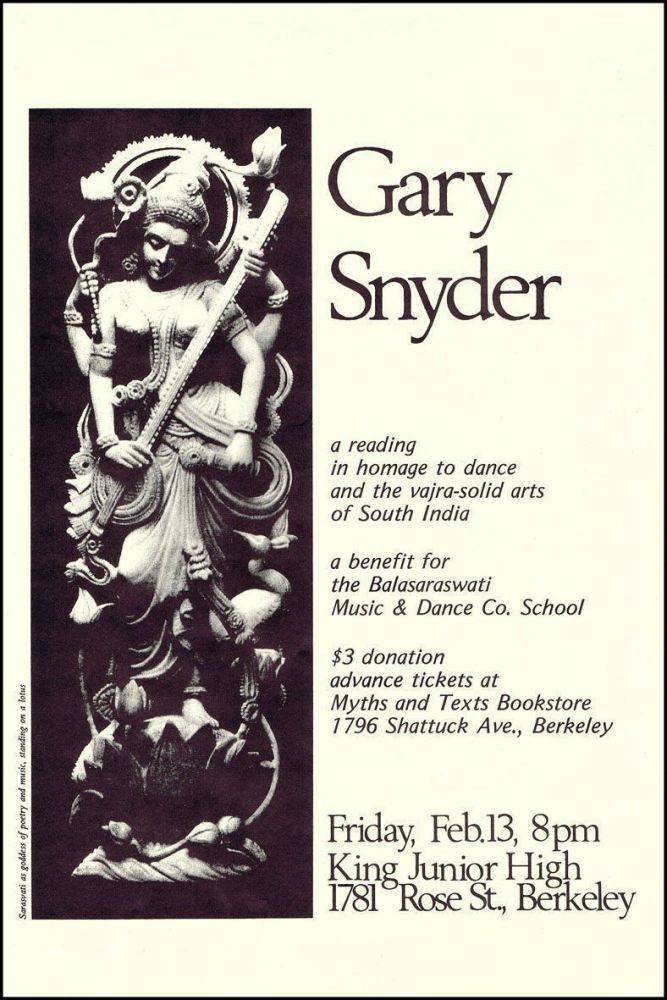 Broadside Announcement of Poetry Reading. Gary Snyder.