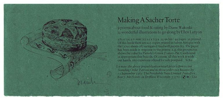"Prospectus for ""Making A Sacher Torte"" Diane Wakoski."