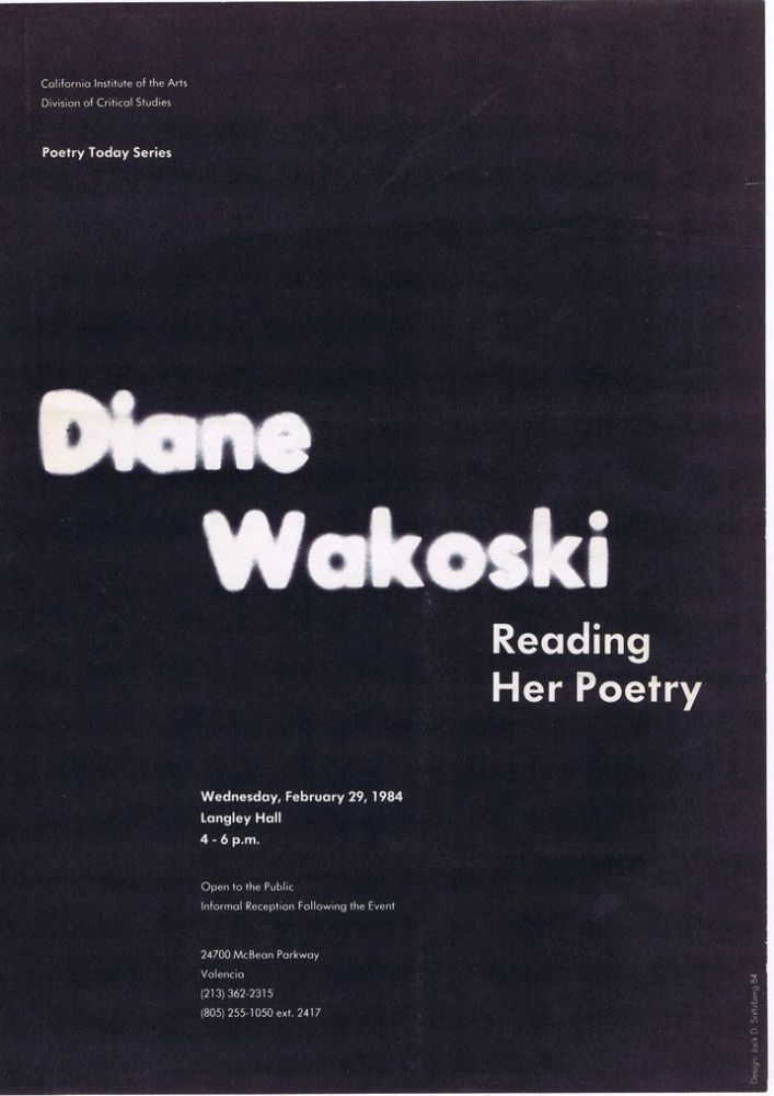 Broadside Announcement of Poetry Reading. Diane Wakoski.