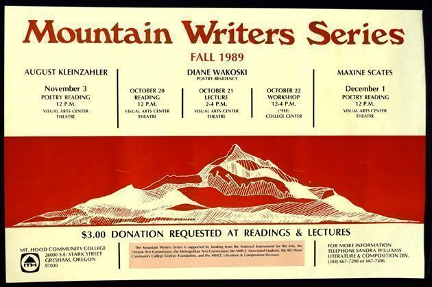Broadside Announcement for Mountain Writers Series, Mt. Hood Community College, Oregon. Diane Wakoski.