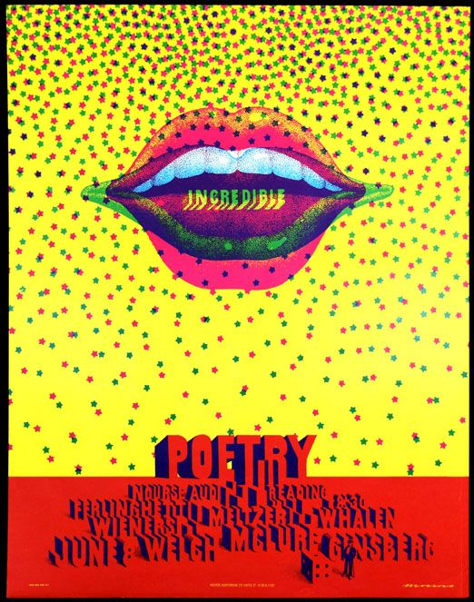 Poster announcing Poetry Reading at Nourse Auditorium, San Francisco. Allen Ginsberg.