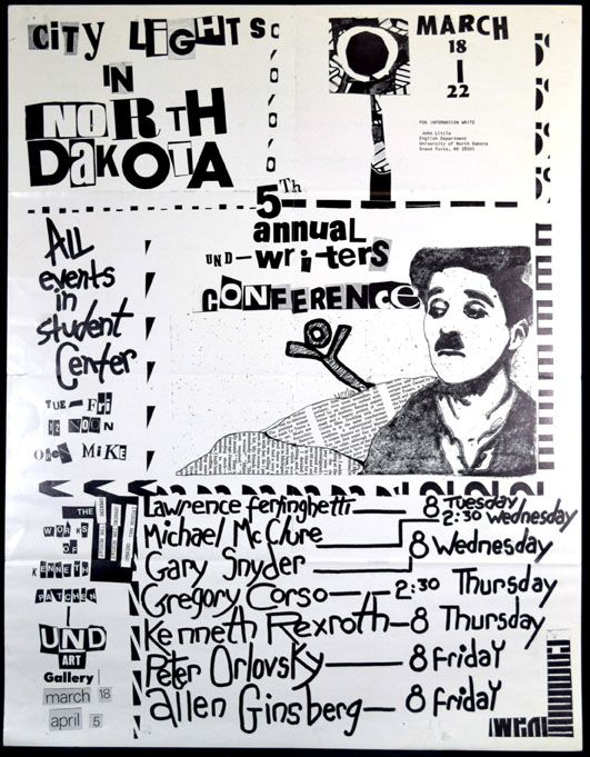 Broadside-Poster announcing City Lights in North Dakota Events. Various, Allen Ginsberg.