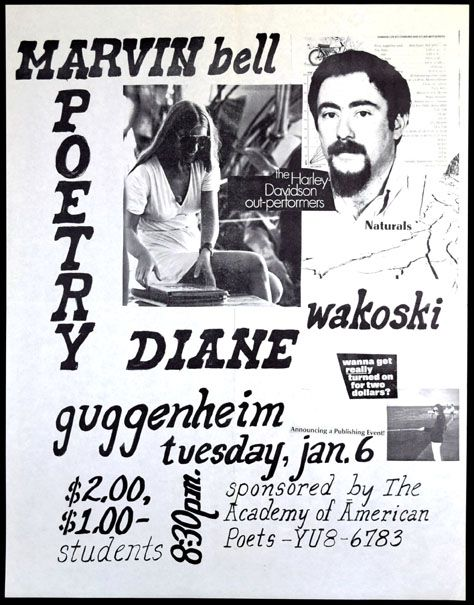 Poster announcing Poetry Reading at Guggenheim Museum. Marvin Bell, Diane Wakoski