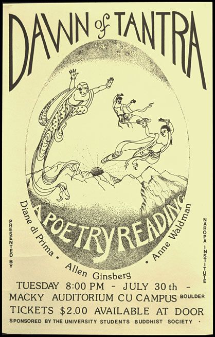 "Broadside Announcement of a Poetry Reading, ""Dawn of Tantra"" Diane di Prima, Allen Ginsberg, Anne..."