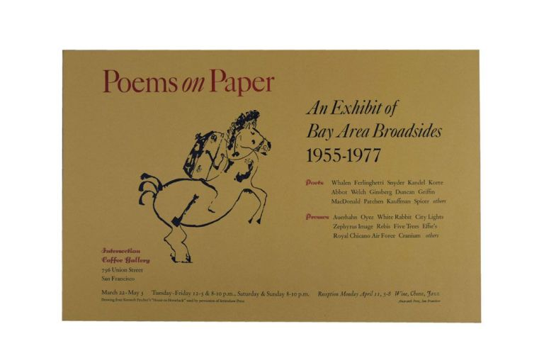 "Broadside-Poster for ""Poems on Paper: An Exhibit of Bay Area Broadsides 1955-1977"" Robert Duncan,..."