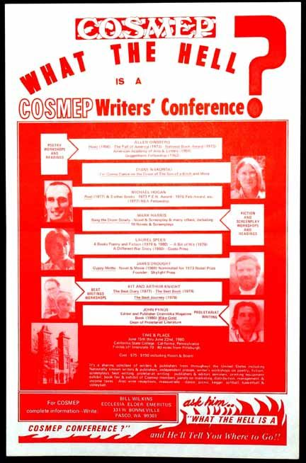 Broadside-Poster for COSMEP Writers' Conference, June 1980. Allen Ginsberg, Arthur Knight, Kit,...