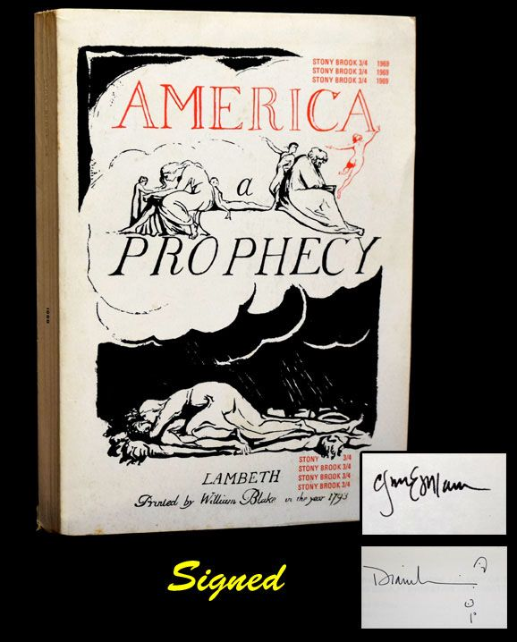 America: A Prophecy -- Stony Brook 3/4 (w/Original Subscription Card/Flyer & Accompanying Envelope). William Blake, Charles Bukowski, Robert Creeley, Rene Daumal, Clayton Eshleman, Hugh Kenner, Denise Levertov.