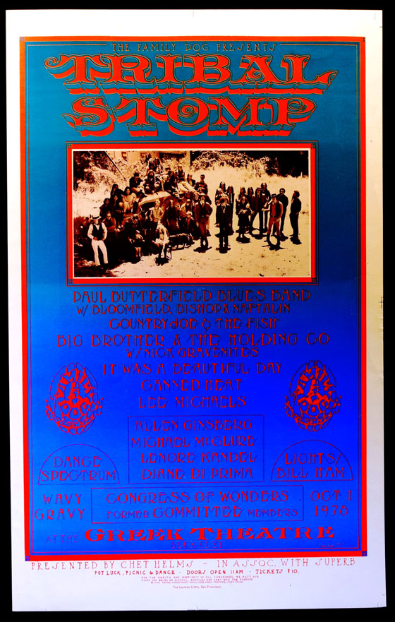 Poster for 1978 Tribal Stomp Concert. The Family Dog, Chet Helms, Big Brother, the Holding Co, Canned Heat, Diane di Prima, Allen Ginsberg, Michael McClure, Wavy Gravy, the Holding Co.
