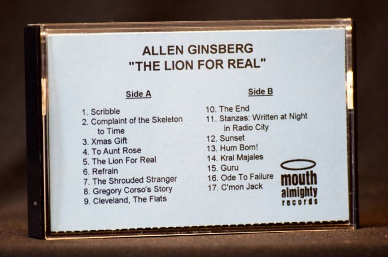 """The Lion for Real"" Cassette (Promotional Copy) with: Ticket for Memorial Event. Allen Ginsberg."