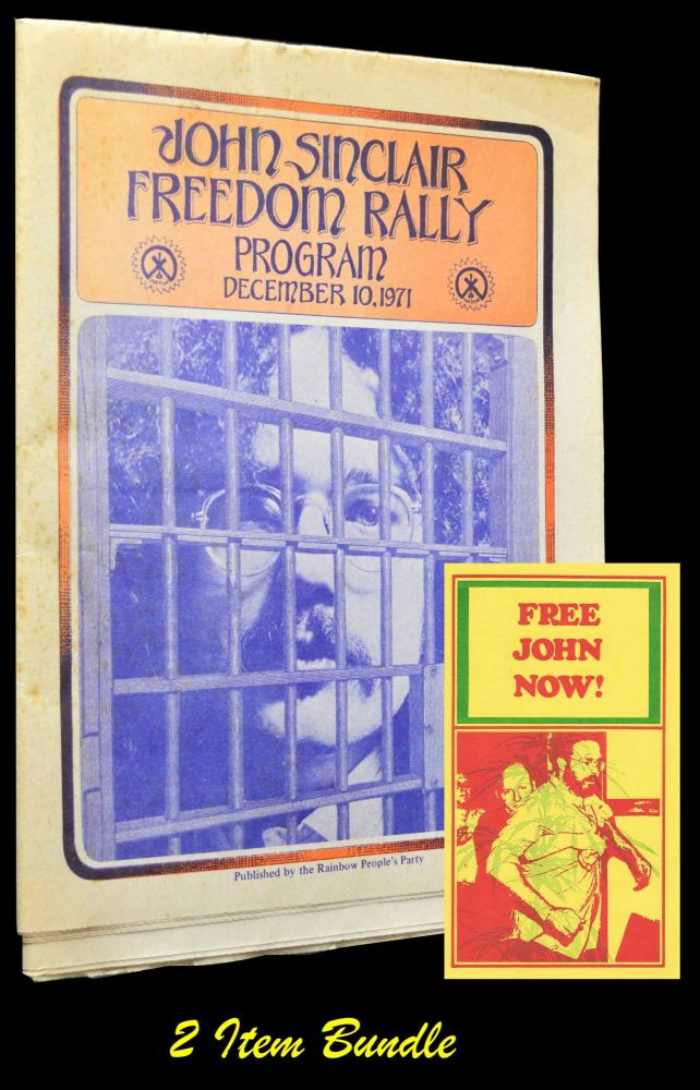 John Sinclair Freedom Rally Program: December 10, 1971 with: FREE JOHN NOW! Postcard. John Sinclair, Rennie Davis, Allen Ginsberg, John Lennon, Phil Ochs, Jerry Rubin, Ed Sanders, Bobby Seale, Archie Shepp, Leni Sinclair.