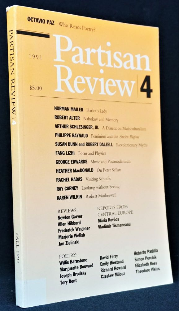 Partisan Review, Vol. LVIII, No. 4, 1991. William Phillips, Robert Alter, Paul Bowles, Joseph...