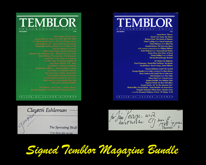 TEMBLOR: Contemporary Poets, Issue Numbers 5 & 6. Leland Hickman, John Ashbery, Gerald Burns,...