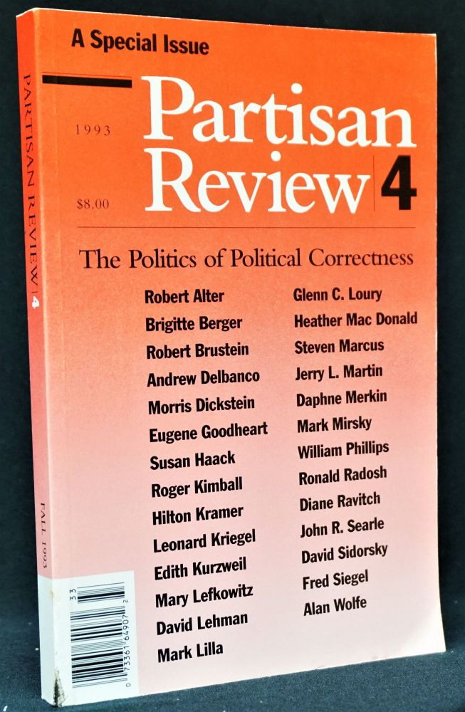 Partisan Review, Vol. LX, No. 4, 1993. William Phillips, Morris Dickstein, Hilton Kramer, Edith...