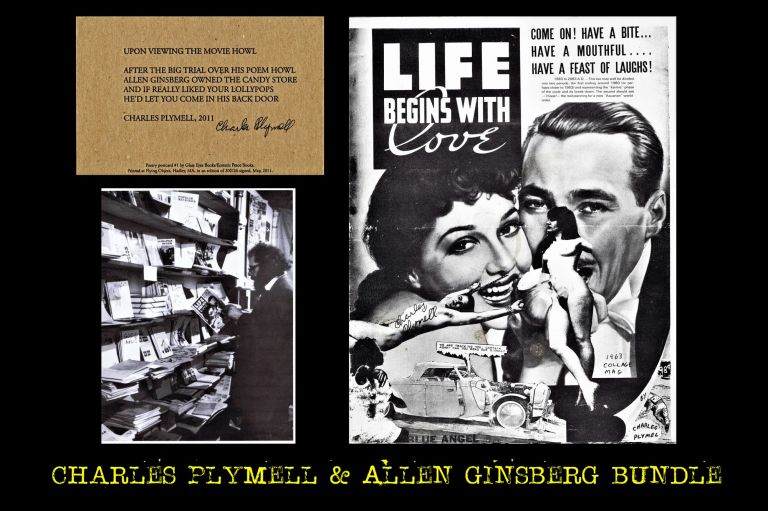 "Collage Magazine (""Life Begins With Love,"" 1963) with: Ephemera with: Poetry Postcard, ""Upon Viewing the Movie Howl"" Charles Plymell."