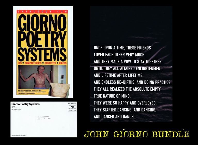 "Giorno Poetry Systems Catalogue # 20 with: ""Demons in the Details"" Poster. John Giorno, William S. Burroughs."