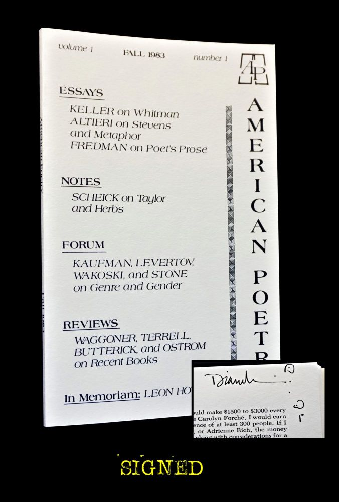 American Poetry Vol. 1 No. 1 (Fall 1983). Lee Bartlett, Peter White, George F. Butterick, Laszlo...