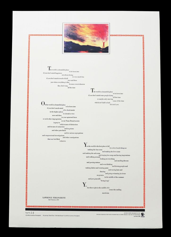 "Untitled Broadside (""The world is a beautiful place""). Lawrence Ferlinghetti"