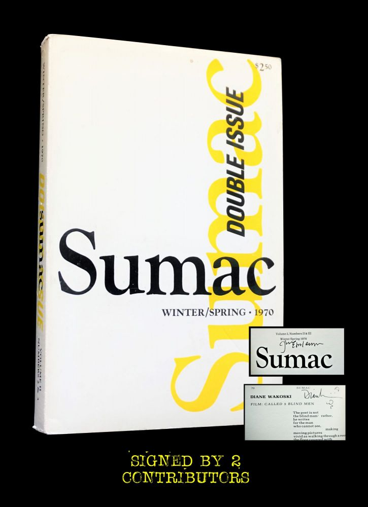 Sumac Vol II No.s II & III Double Issue (Winter/ Spring 1970). Russell Banks, Wendell Berry, Clayton Eshleman, Dan Gerber, Jim Harrison, Anselm Hollo, Robert Kelly, Gerard Malanga, W. S. Merwin, Charles Olson, George Powell, Adrienne Rich, Diane Wakoski.