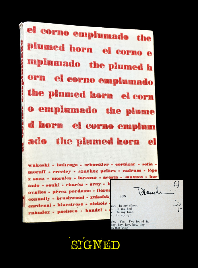 El Corno Emplumado/ The Plumed Horn No. 11 (July 1964). Sergio Mondragon, Margaret Randall, Richard Barker, Alfredo Chacon, Ron Connally, Robert Creeley, Lawrence Ferlinghetti, Miguel Lorenzo, Murray Mednick, Thomas Merton, Rochelle Owens, Manuel Pacheco, Armand Schwerner, Cesar vallejo, Diane Wakoski, Louis Zukofsky.