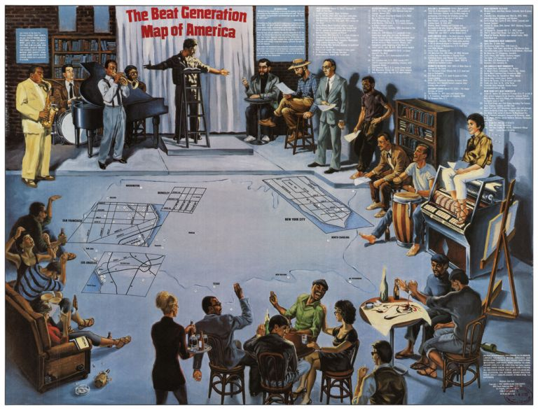 The Beat Generation Map of America. Stan Grant.